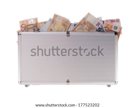 Metal case filled with money, isolated on white - stock photo