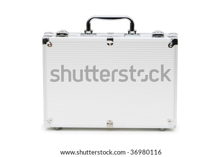 Metal case isolated on the white background - stock photo