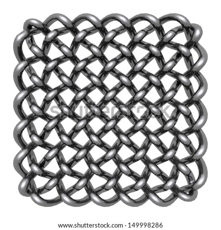 metal celtic knots on white background