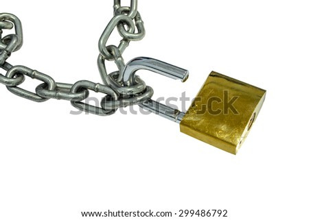 metal chain and open padlock on white background - stock photo