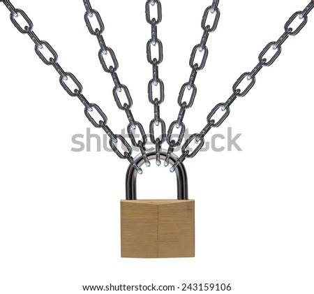 Metal chain and padlock on white background - stock photo