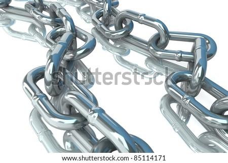 metal chain on white background - stock photo