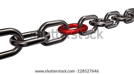 metal chain on white background - 3d illustration