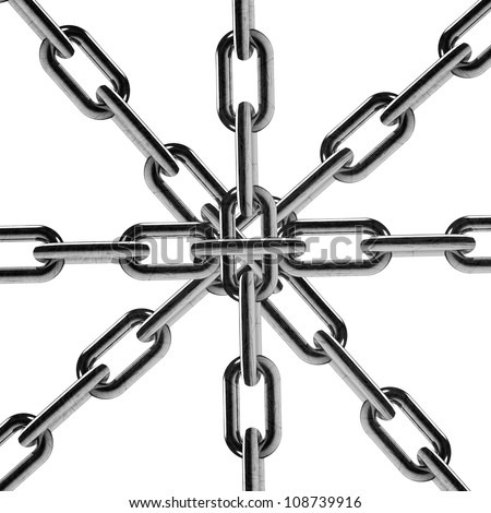 Metal chain parts isolated on white background. - stock photo