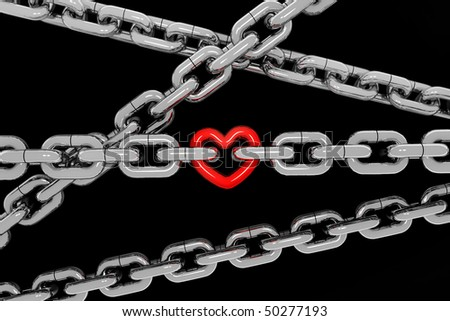 metal chain with a red metal heart on black background - stock photo