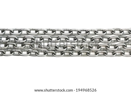 Metal chains on a white background - stock photo