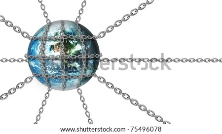 Metal chains wraped around Earth globe - stock photo