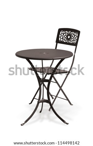 Metal chair and table - stock photo