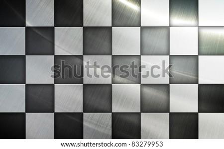 metal checkered flag - stock photo