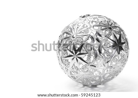 metal christmas ball on white background - stock photo