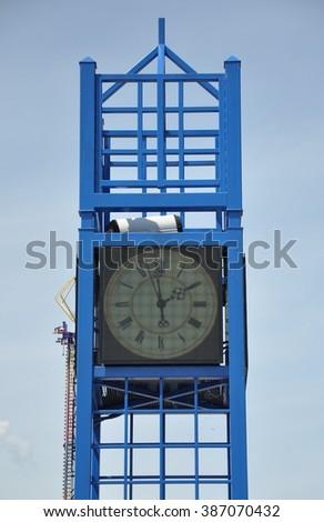 Metal clock tower - stock photo
