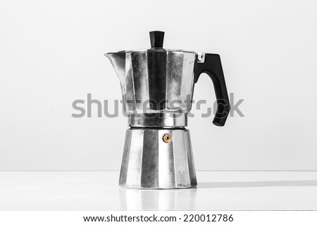 Metal coffee percolator for brewing Italian espresso coffee  - stock photo