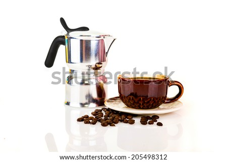 Metal coffeepot with beans on a white background - stock photo