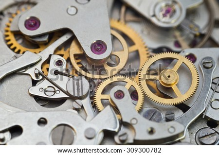 Metal Cogwheels in Clockwork, Concept Teamwork , Idea Technology