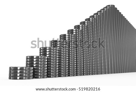 metal coins stairs on white - 3d rendering