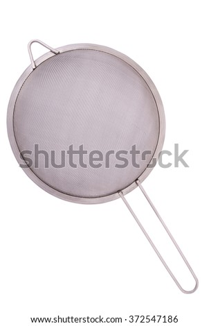 Metal colander on a white background. Clipping path inside. - stock photo