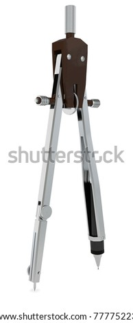 Metal compasses. Isolated render on a white background - stock photo