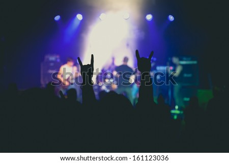 Metal Concert Live in the Small Club. - stock photo