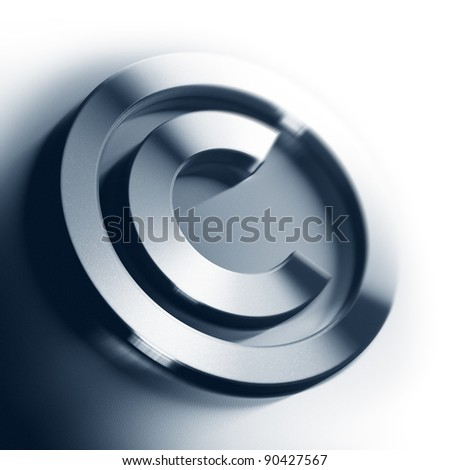 metal copyright symbol onto a white background square image with blur, border of a page