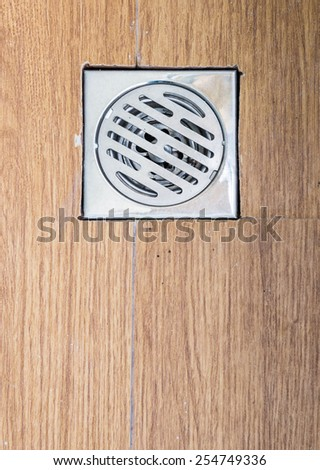 Metal cover drain in the new bathroom. - stock photo