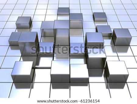 Metal cube background with light reflecting