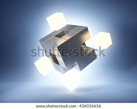 Metal cube with bright key elements. 3D illustration.