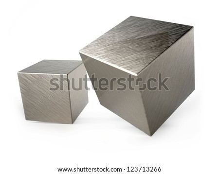 Metal cubes on white background - stock photo