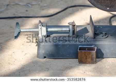 Metal cutting, welding,Vise, metal cutting machines. - stock photo