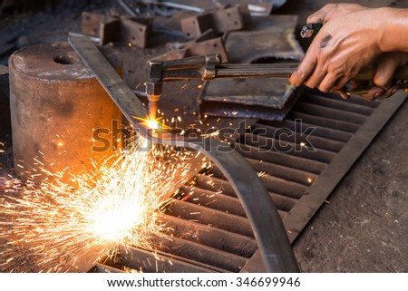 metal cutting with acetylene torch