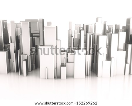Metal 3d cubes abstract city - stock photo