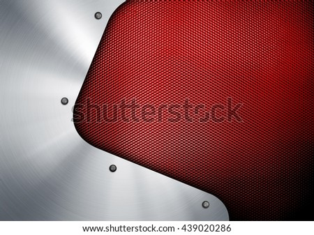 metal design with metal mesh background - stock photo