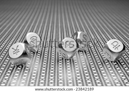 Metal dice with the currency symbols of Europe, England, United States, Russia, Japan, and China on a steel mesh background.