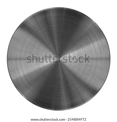 Metal disk texture isolated on white. This round metal part may be used for a graphic art, as a texture or illustration element. - stock photo