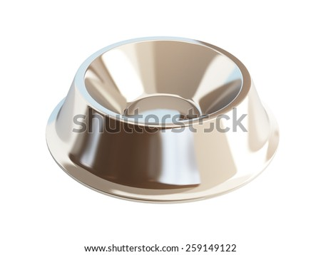 metal dog dish 3d illustrations on a white background - stock photo
