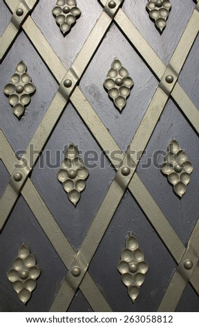 Metal doors and wrought-iron decoration, the proportions - stock photo