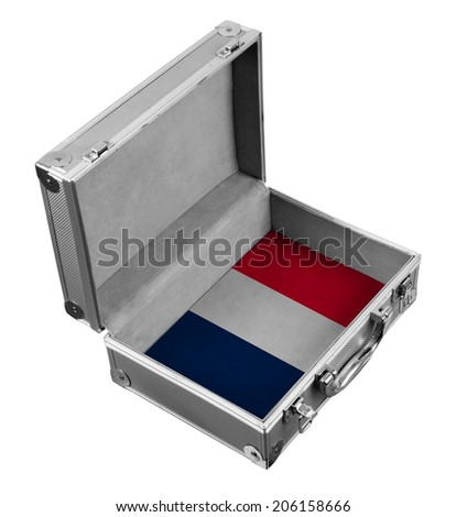 metal dower chest with France flag inside - stock photo
