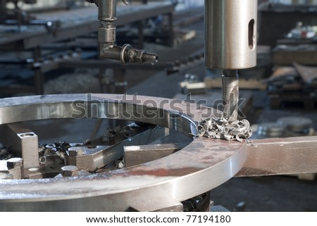 Metal drill. Metal industrial machines and tools
