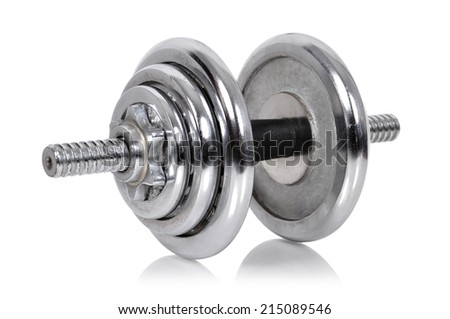 metal dumbbell weights on a white background
