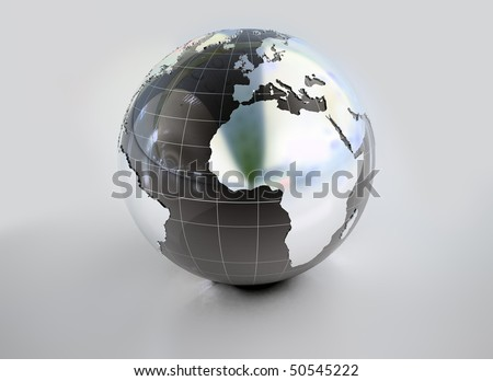 Metal earth globe with reflections - stock photo
