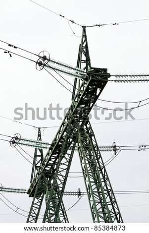 metal electricity pylons - stock photo