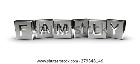 Metal Family Text (Isolated on white background) - stock photo