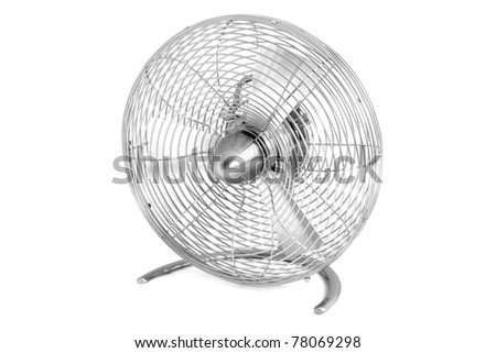 Metal fan on a white background - stock photo