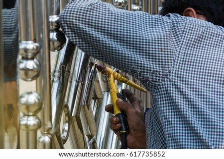 Metal Fashion Fence Stainless Steel Gate Stock Photo 617736353 ...