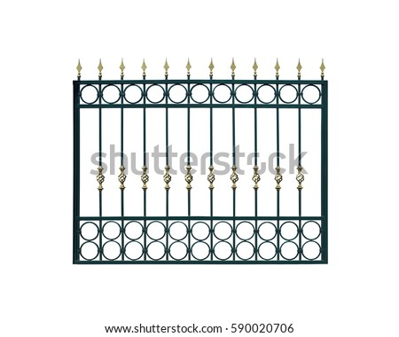 metal fencing isolated over white background