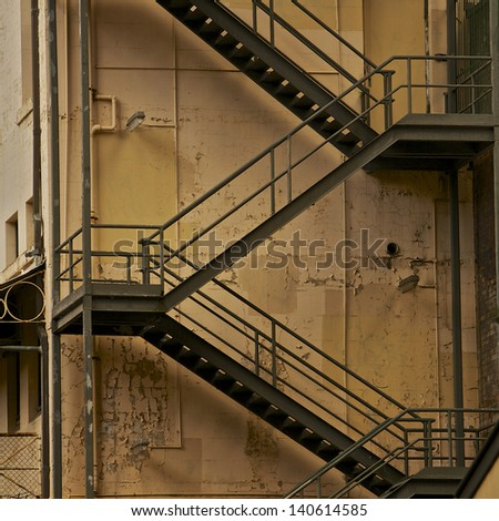 Beau Metal Fire Escape Stairs, Back Of The Building