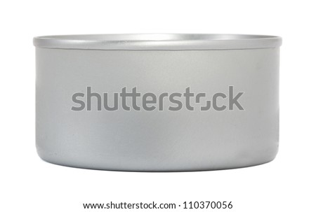Metal food can isolated on white - stock photo