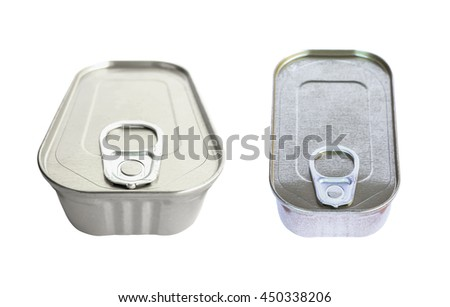 Metal food tins isolated on white background.
