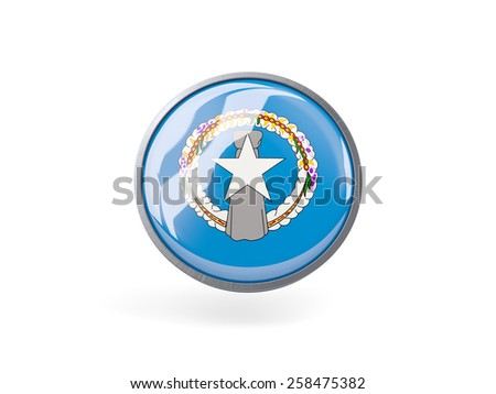 Metal framed round icon with flag of northern mariana islands - stock photo