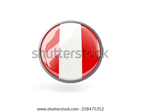 Metal framed round icon with flag of peru - stock photo