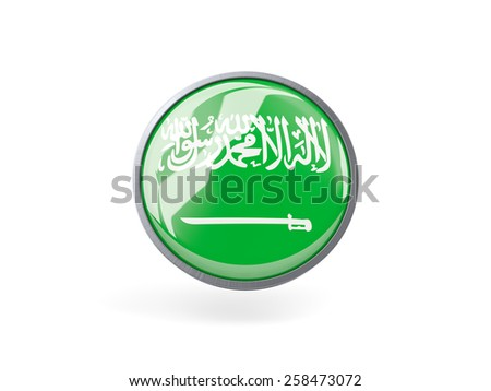Metal framed round icon with flag of saudi arabia - stock photo
